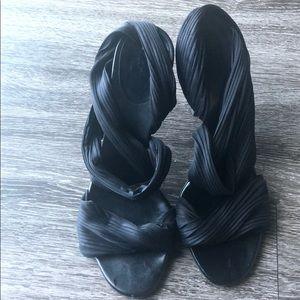 Gucci Black Satin Vintage Sandals